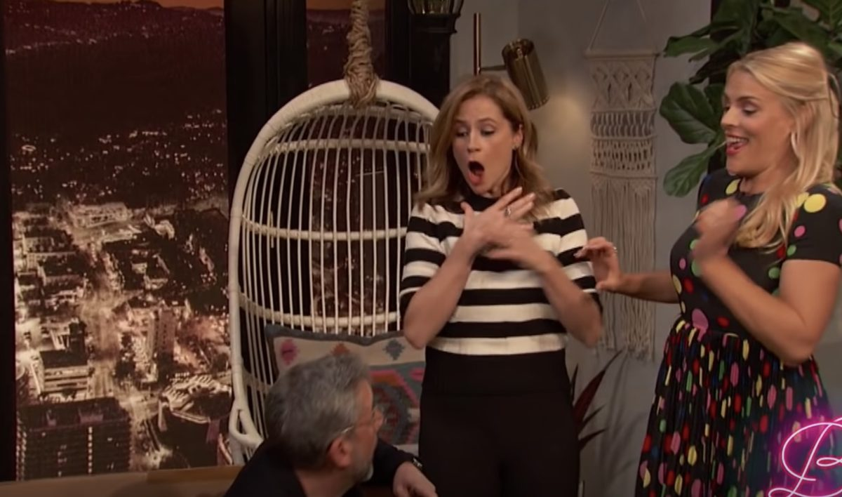 Jenna Fischer got pranked so hard by a former <em>Office</em>-mate on <em>Busy Tonight</em>