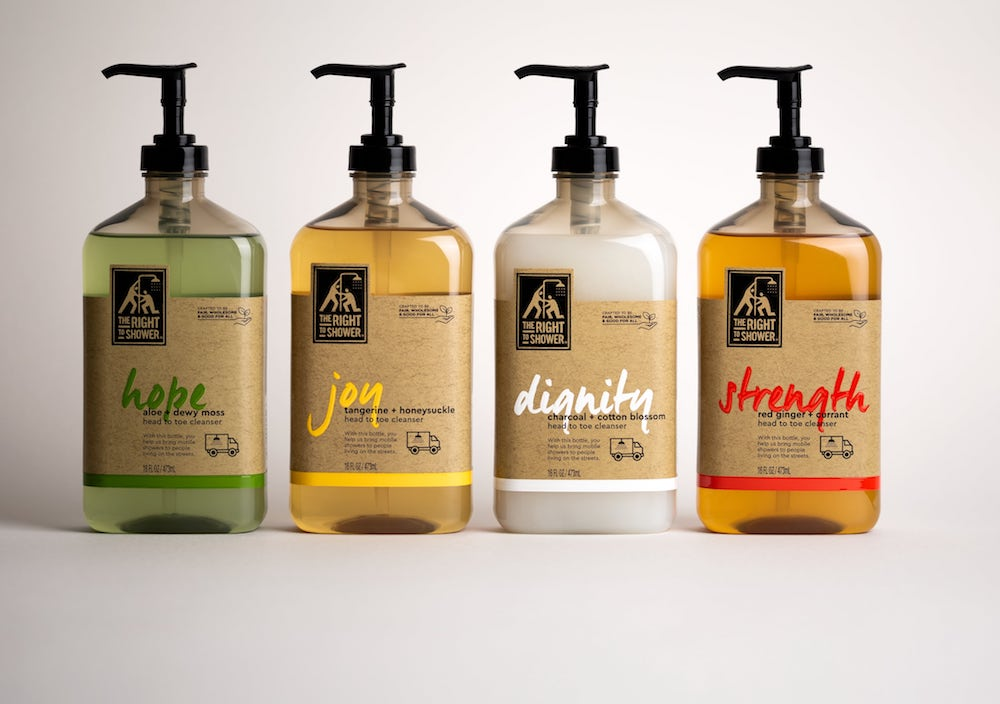 This shower product line is donating 100% of its profits to help the homeless