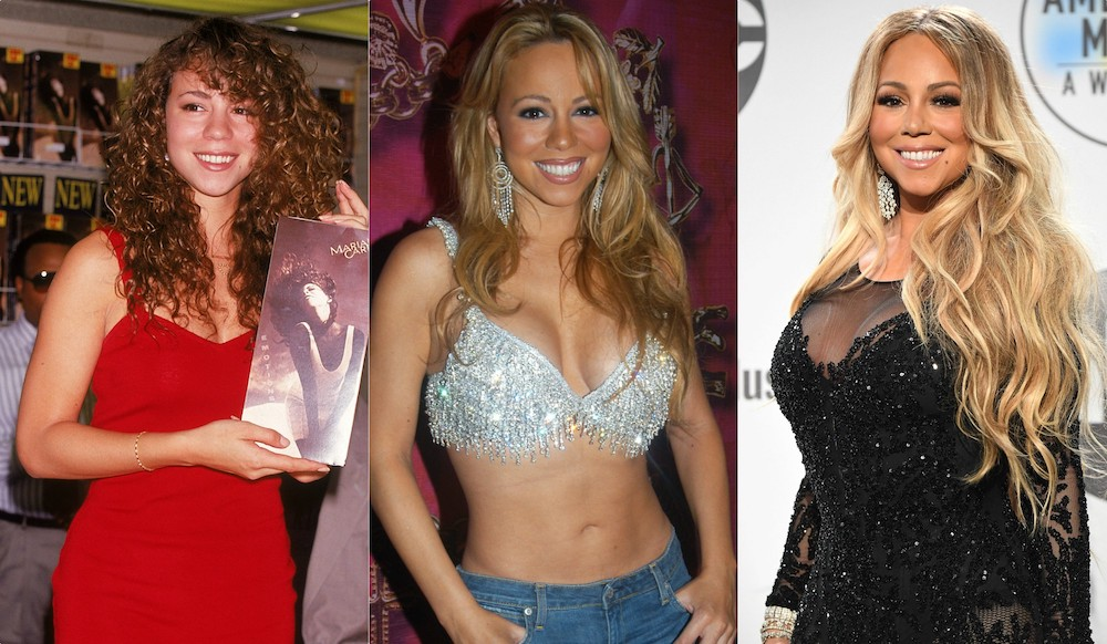 Mariah Carey's beauty and style evolution, from her iconic nude lips to glitter going-out tops