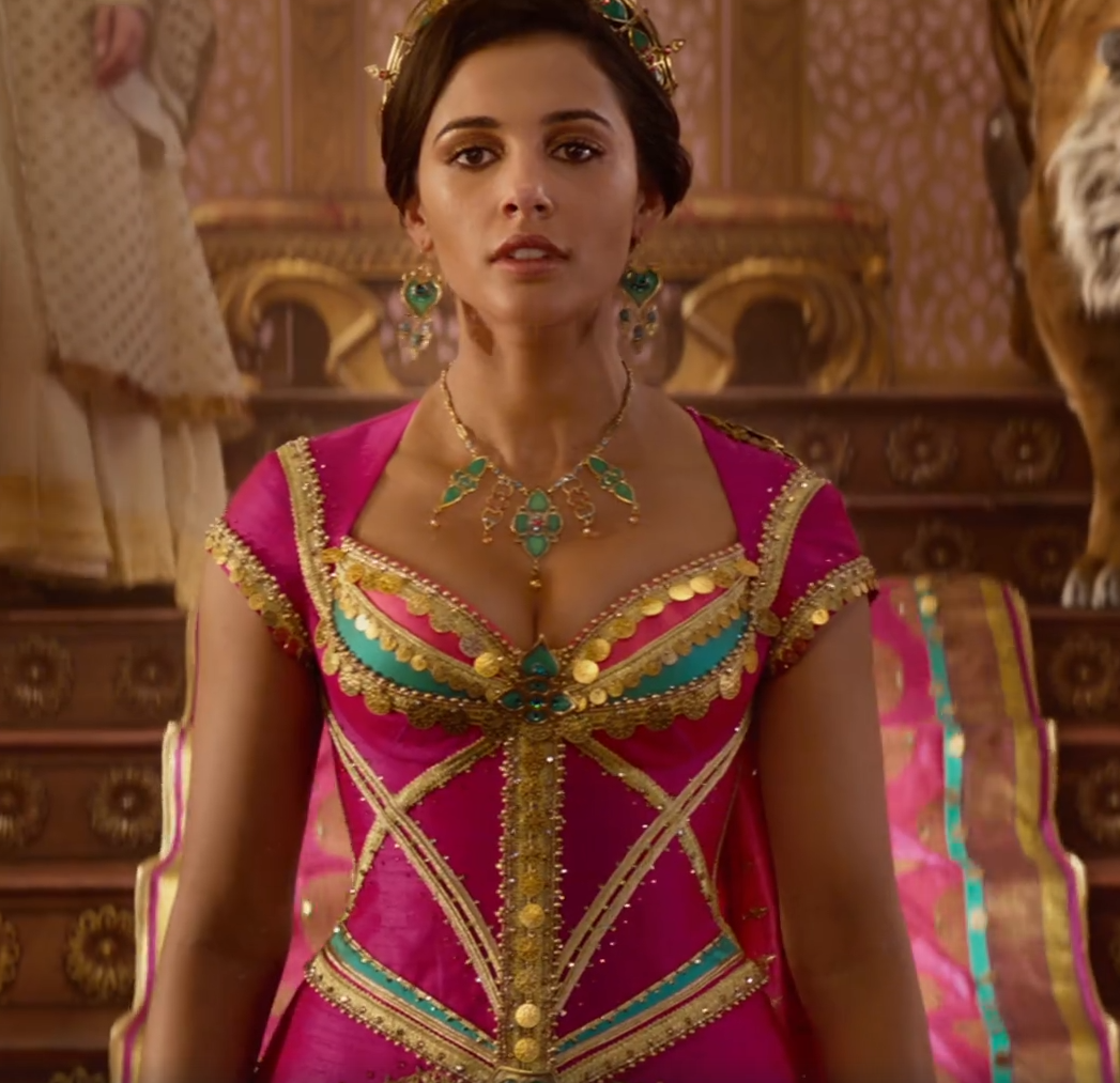 "Princess Jasmine wearing a pink dress in ""Aladdin."""