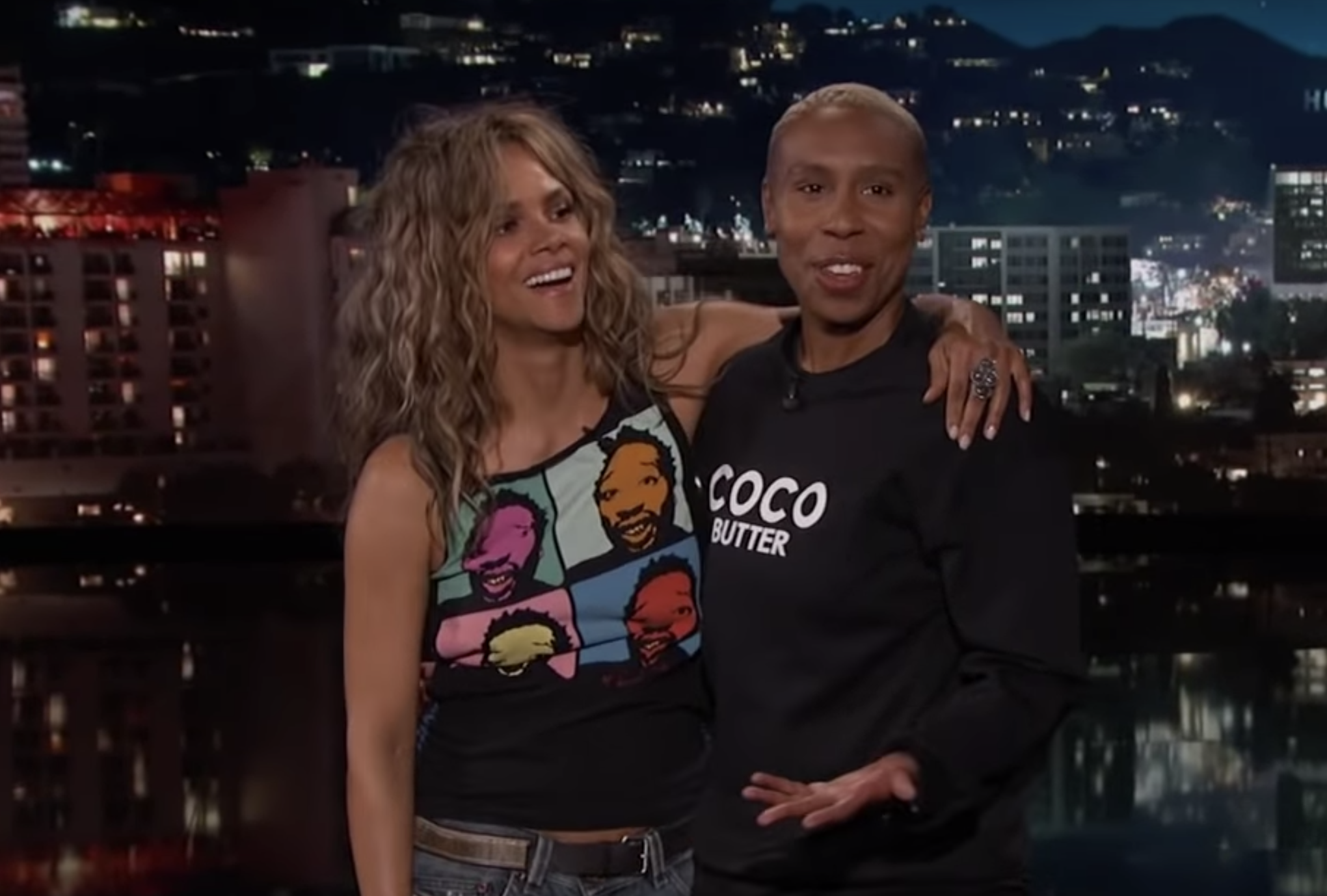 Lena Waithe guest-hosted <em>Jimmy Kimmel Live!</em> and kissed Halle Berry during her monologue