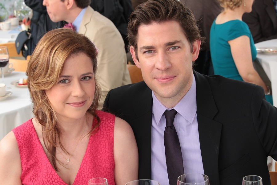 THE OFFICE --  Finale  Episode 924/925 -- Pictured: (l-r) Jenna Fischer as Pam Beesly Halpert, John Krasinski as Jim Halpert -- (Photo by: Chris Haston/NBC/NBCU Photo Bank via Getty Images)