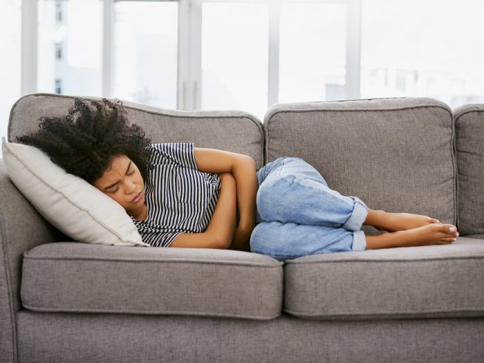 girl laying on couch