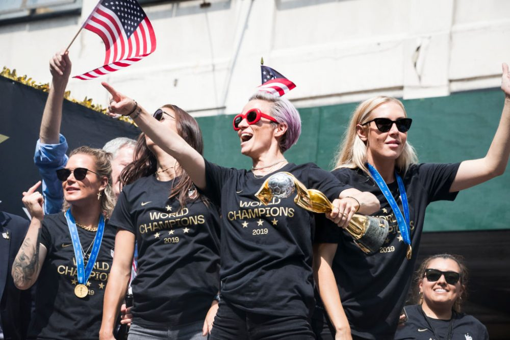 "The U.S. women's soccer team led crowds through ""Equal Pay!"" chants during their parade, and we stan"