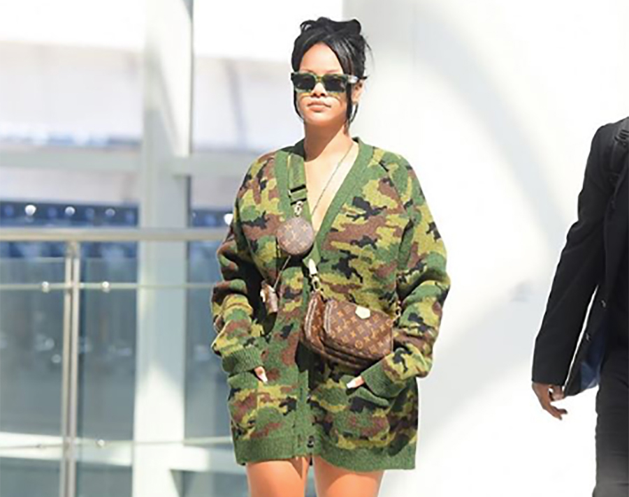 Rihanna rocked a chic camo cardigan (and nothing else) at the airport—shop 5 affordable lookalikes