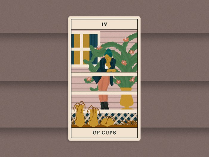 tarotscopes four of cups tarot card for HelloGiggles October reading