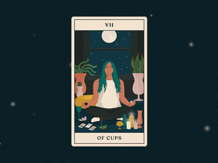 tarotscopes seven of cups tarot card for HelloGiggles reading