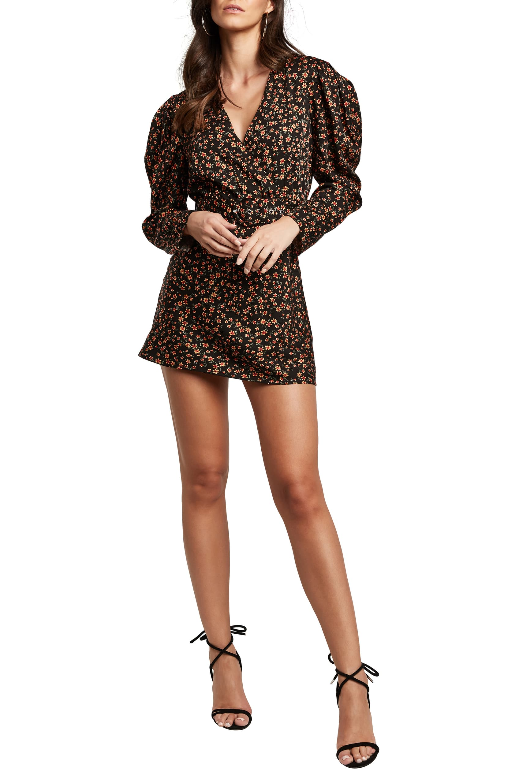 Bardot puff-sleeved dress