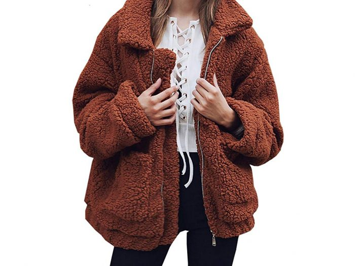 PRETTYGARDEN Faux Shearling Shaggy Oversized Coat