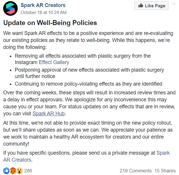 Instagram is banning all filters that give any effect of plastic surgery
