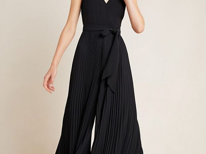 anthropologie black pleated jumpsuit for holidays