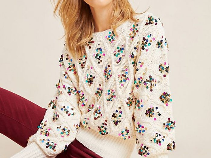 anthropologie white sweater mulitcolored sequins for holiday