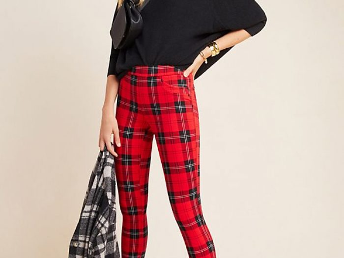 anthropologie red plaid pants holiday outfit idea