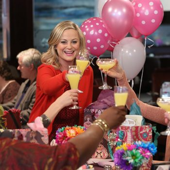 "Amy Poehler reunited with the <em>Parks and Rec </em>ladies for Galentine's Day, and we're screaming ""uteruses before duderuses"""