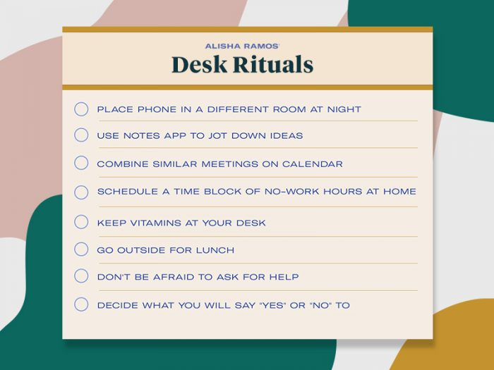 alisha ramos, girls night in, self-care rituals, desk rituals
