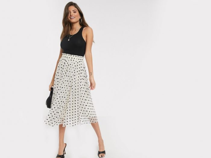 ASOS pleated midi skirt in polka dots