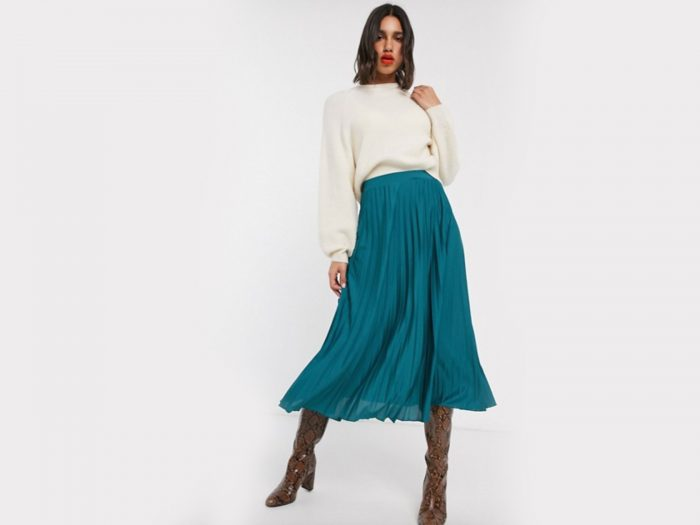ASOS Design teal pleated midi skirt
